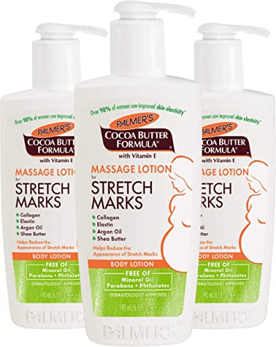 Palmer's Cocoa Butter Formula Massage Lotion for Stretch Marks and Pregnancy Skin Care, 6.5 Ounces (Pack of 3)