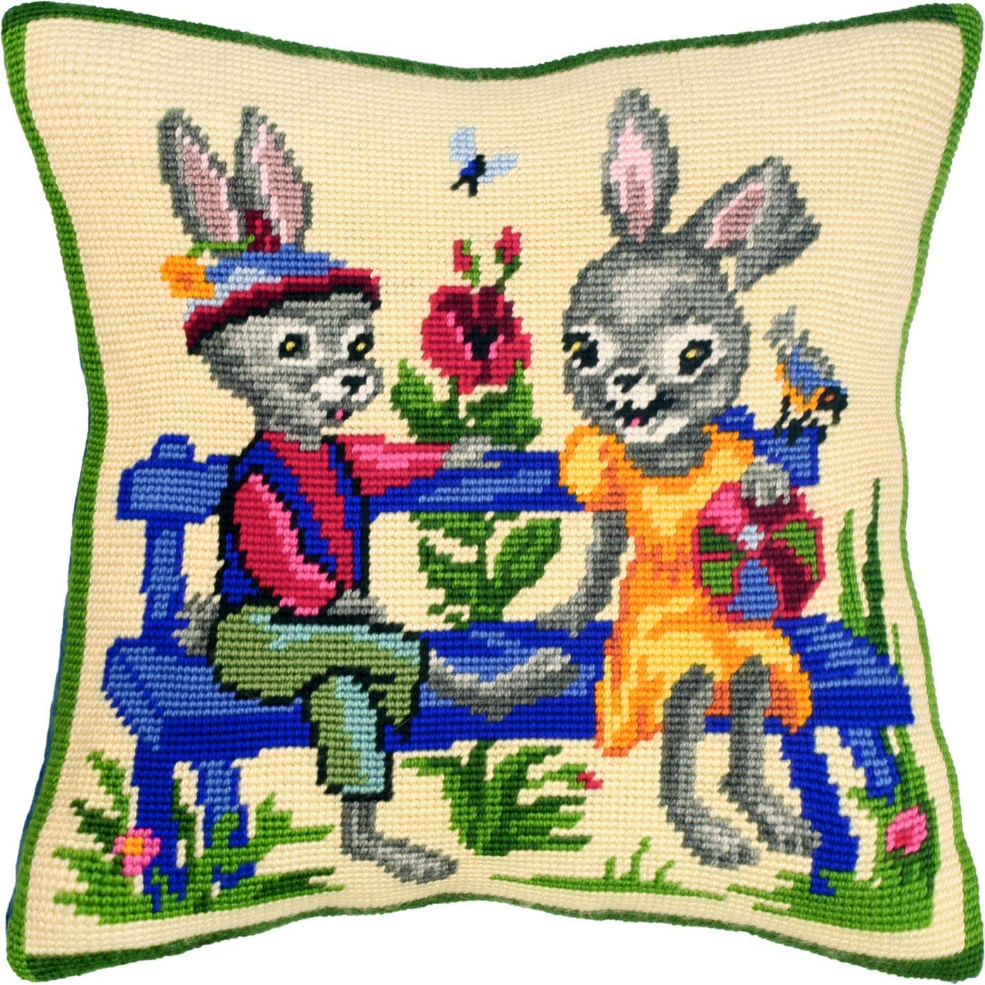 European Quality Printed Tapestry Canvas Needlepoint Kit Rabbits The Farmers Throw Pillow 16/×16 Inches