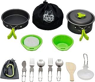 CampingRockers 15PCs Camping Cookware Mess Kit - Durable Pot Pan Bowls & Folding Knife, Nylon Bag- Lightweight Set for Backpacking, Hiking Outdoors - Non-Stick Aluminum Cookset & Utensils for Picnic