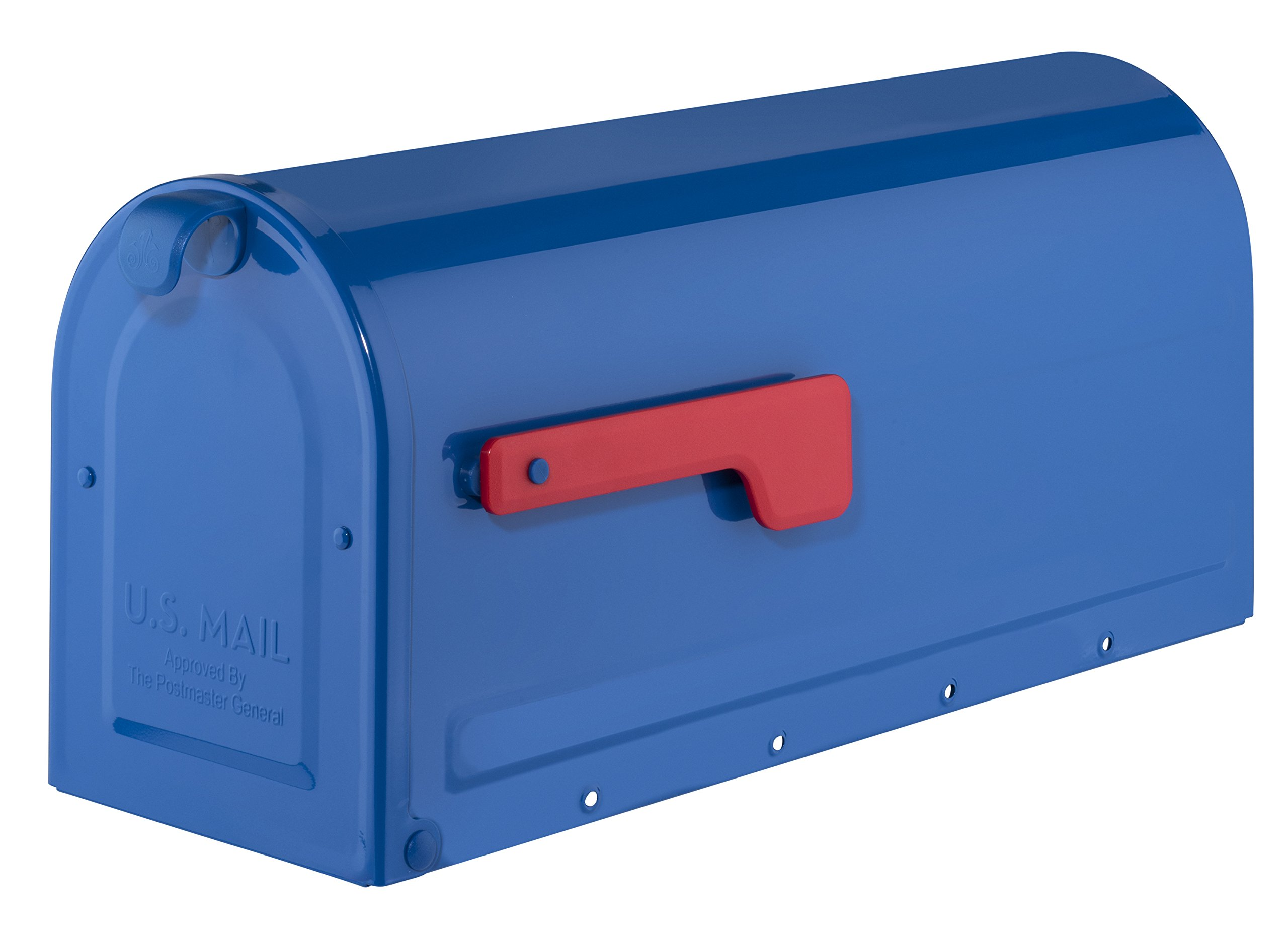 Amazon Com Architectural Mailboxes 7600be Blue With Red Flag Mb1 Post Mount Mailbox Medium Home Improvement