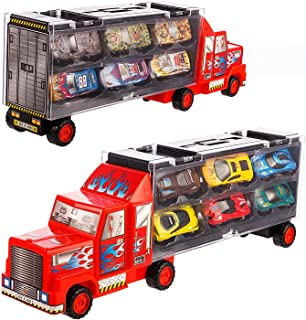 Tuko Car Toys Die Cast Carrier Truck Vehicles Toy for 3-12 Years Old Boy Girl Toy Gift(Includes 6 Alloy Cars,3 Animal Cars,3 Number Cars and Traffic Accessories) (Red)