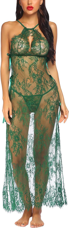 Avidlove Womens Sexy Lingerie Long Gown Lace Nightgown Full Slip Nightwear