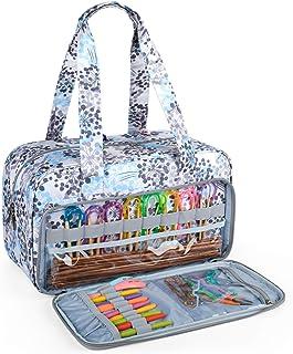 CURMIO Sac de rangement de fil, sac fourre-tout à tricoter pour crochets, projet de tricot et accessoires, idéal pour les ...