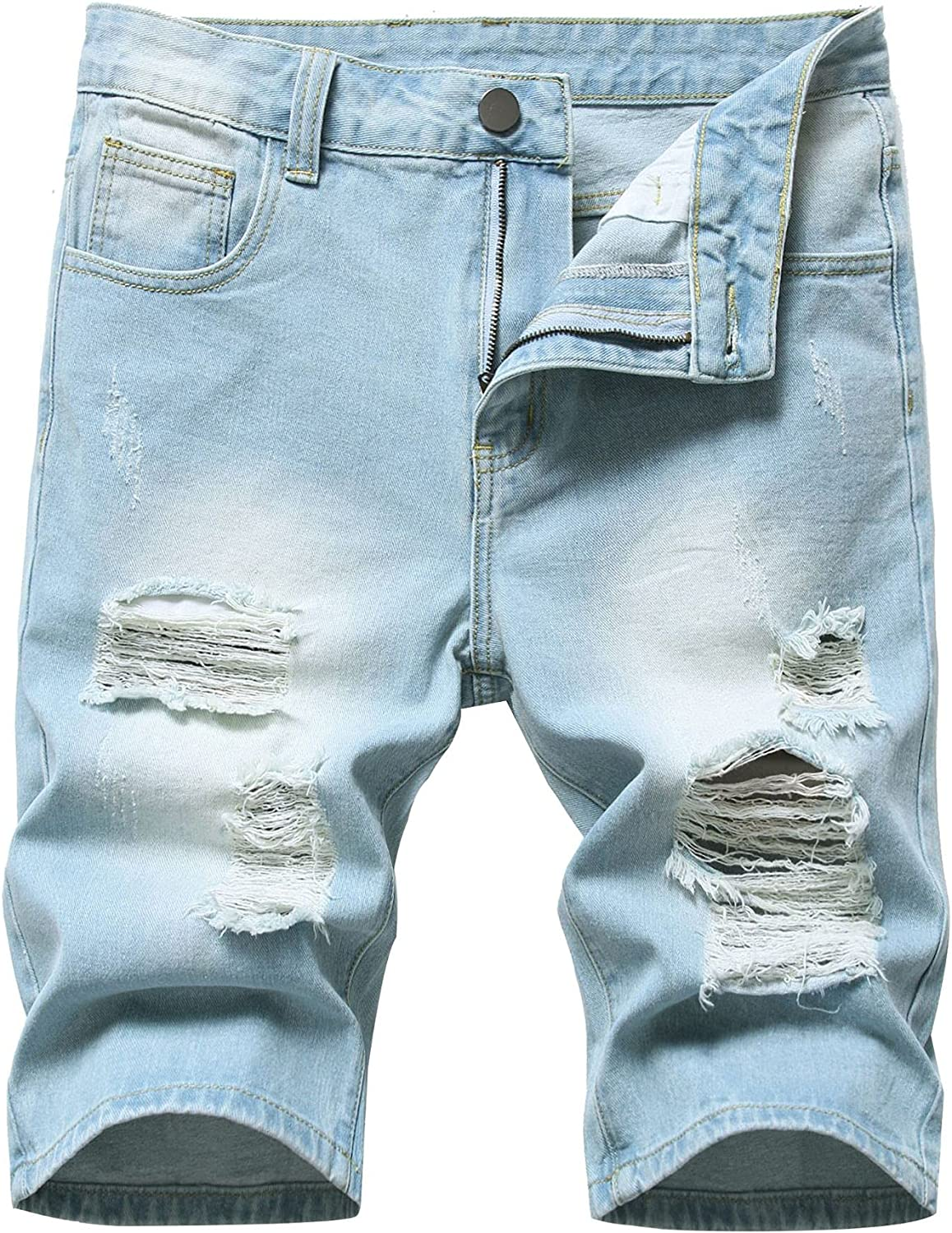 JIFRE Men's European and American high Street Ripped Denim Shorts Stretch Straight Ripped