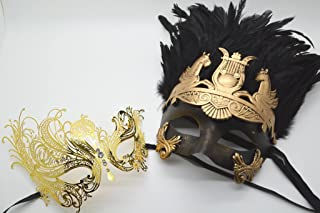 Roman Greek God and Extravagant Goddess Set - His & Hers Masquerade Masks [Antique Gold Themed] - New Year's Eve, Mardi Gras Theater