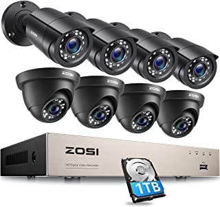 ZOSI Security Camera System 8CH 4-in-1 HD-TVI 1080N/720P Surveillance Video Recorder with (8) 1.0MP Bullet/Dome Weatherpro...
