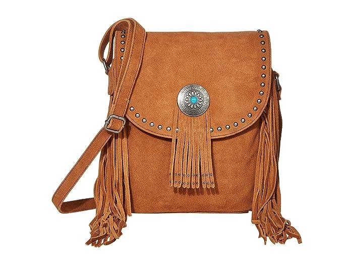 Scully  Yadira Suede Fringe Handbag with Concho (Cinnamon) Handbags