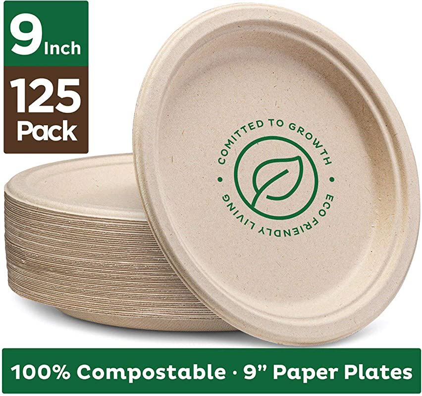 Stack Man 100 Compostable 9 Paper Plates 125 Pack Heavy Duty Quality Natural Disposable Bagasse Eco Friendly Made Of Sugar Cane Fibers 9 Inch Brown