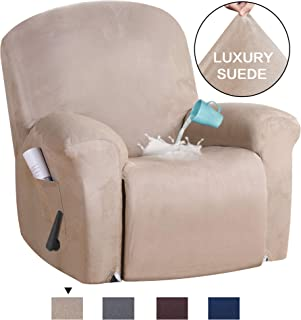 H.VERSAILTEX Stretch Recliner Slipcovers 1-Piece Water Repellent Rich Suede Modern Velvet Plush Strapless Sofa Furniture Cover Form Fit Stretch Stylish Recliner Cover/Protector (Recliner, Sand)