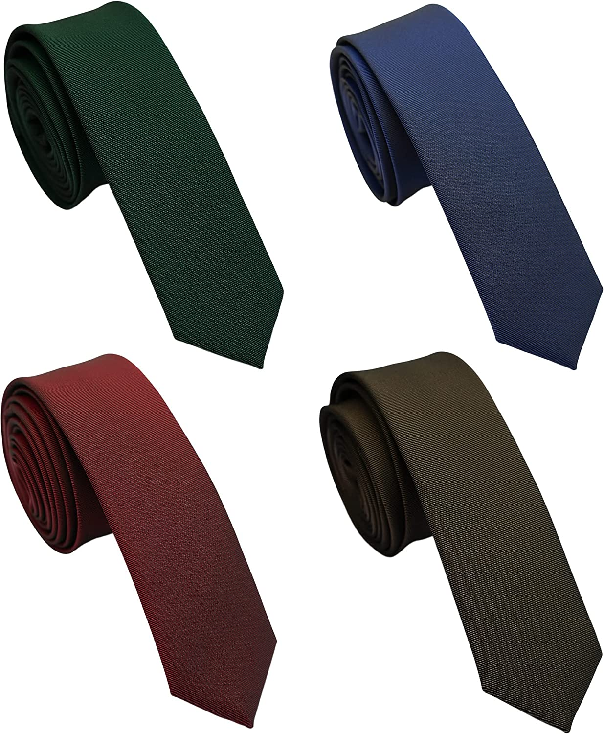 Extra Long Solid Skinny Ties for Men 4-Pack, 2 inch Slim and Thin Neckties, 63 inch Long XL Ties for Men Big and Tall