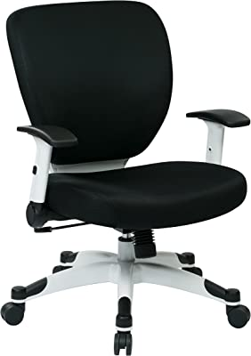 SPACE Seating Professional Deluxe Padded Mesh Seat and Back, 2-to-1 Synchro, Adjustable Arms and Tilt Tension with White Coated Nylon Base Frame Task Chair, Black