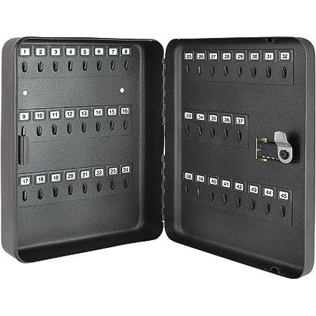 HMF 14500-02 Armoire à Clés 45 crochets, Boîte à Clés, Serrure à Combinaison, 30 x 24 x 7,5 cm, noir