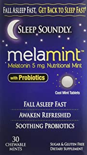 Sleep Soundly Melamint Melatonin Melt 5mg with Probiotics, Fast Acting Sleep Formula, 30 servings