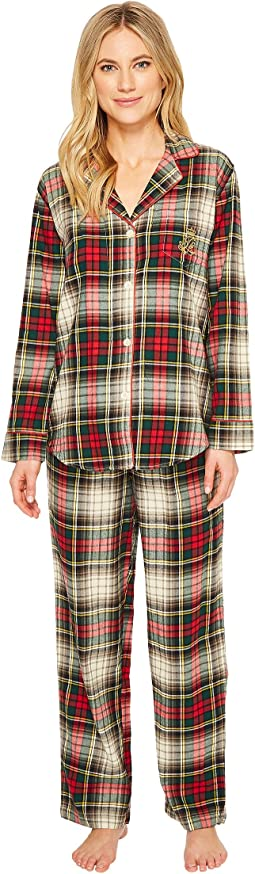 LAUREN Ralph Lauren - Folded Brushed Twill Notch Collar Pajama