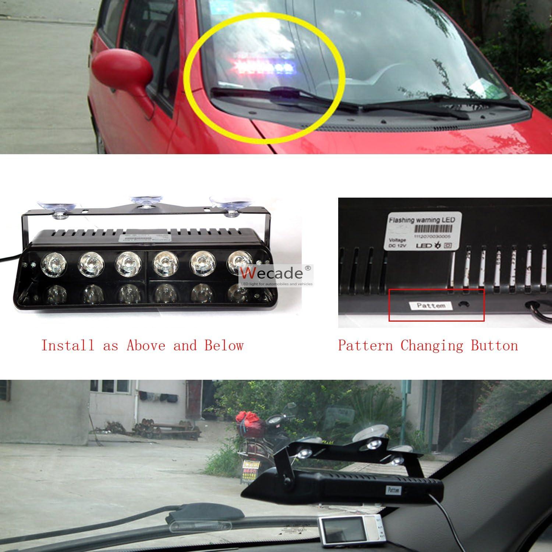 Wecade 16 Changing Modes 6w Super Bright LED Visor Dashboard Windshield Emergency Hazard Warning Strobe Lights Amber