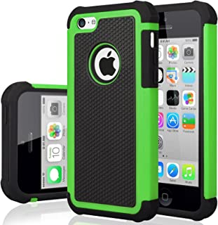 iPhone 5C Case, iPhone 5C Cover, Jeylly Shock Absorbing Hard Plastic Outer + Rubber Silicone Inner Scratch Defender Bumper Rugged Hard Case Cover for iPhone 5C - Green