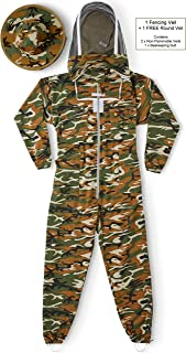 Natural Apiary Max Pro Beekeeping Jacket Suit Outfit 2 x Non-Flammable Fencing Veil Mesh (Round & Fencing) Professional Bee Keeper Protection, 3X Large, Camouflage