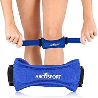 Abco Tech Patella Knee Strap - Knee Pain Relief - Tendon and Knee Support for Running, Hiking, Soccer, Basketball, Volleyball and Exercise - Runners Knee Stabilizer - Adjustable Band