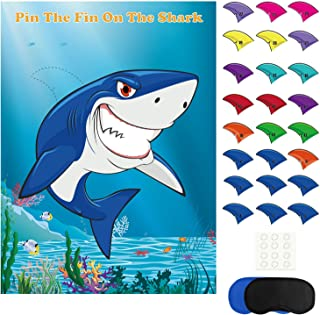FEPITO Pin The Fin on The Shark Game with 24 Pcs Fins for Shark Birthday Party Decoration, Party Supplies