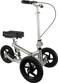 KneeRover PRO All Terrain Knee Walker Aluminum Scooter with Shock Absorber - Silver