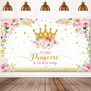 Baby Shower Backdrop Little Princess Baby Shower Party Decorations for Girls Pink Flower Baby Shower Banner Gold Crown Gli...