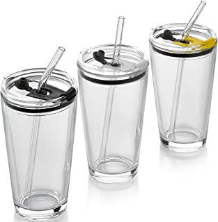 Classic Premium Beer Pint Glasses With Lid 16 Ounce - Highball Cocktail Mixing Glass – Perfect for Cold Beverages, Soda, W...
