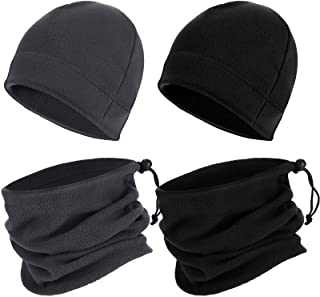 4 Pieces Winter Beanie Hat Scarf Set for Men and Women, Cold-Proof Warm Fleece Cap Neck Warmer Scarf for Skiing Cycling Ou...