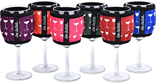 Joe Jacket - 6-Pack Neoprene Wine Sleeves - Wine Glass Design - Never Lose Your Wine Glass Again! Super Stylish Glass and Keeps Your Wine at the Correct Temp. Buy 6-Pack and get 30% Off. (6PACK) …