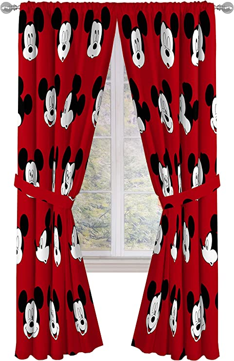 Amazon Com Jay Franco Disney Mickey Mouse Cute Faces 84 Inch Drapes 4 Piece Set Beautiful Room Decor Easy Set Up Window Curtains Include 2 Panels 2 Tiebacks Official