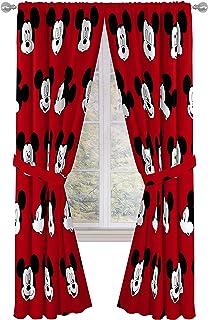 "Jay Franco Disney Mickey Mouse Cute Faces 84"" inch Drapes 4 Piece Set - Beautiful Room Décor & Easy Set up - Window Curtai..."
