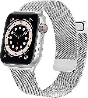 Wanme Correa Compatible con Apple Watch Correa 38mm 40mm 42mm 44mm, Pulsera de Repuesto de Metal de Acero Inoxidable para ...