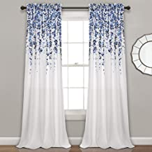 "Lush Decor Weeping Flowers Curtains Navy and Blue Room Darkening Window Panel Set (Pair), 84"" x 52"""