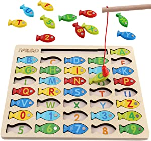 Magnetic Wooden Fishing Game Toy for Toddlers, Alphabet Fish Catching Counting Games Puzzle with Numbers and Letters, Preschool Learning ABC and Math Educational Toys for 3 4 5 Years Old Girl Boy Kids