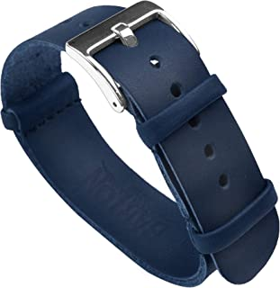 Barton Leather NATO Style Watch Straps - Choose Color, Length & Width - 18mm, 20mm, 22mm, 24mm Bands