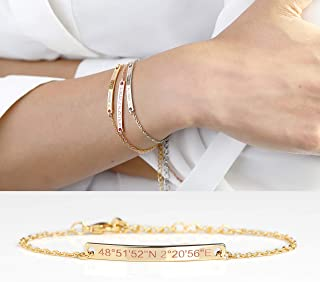 Dainty Name Bar Bracelet in Handmade Initial Jewelry Bracelet Friendship Women Best Friend Mom Christmas Gift Sorority Mothers Day Gifts From Daughter - 2BR