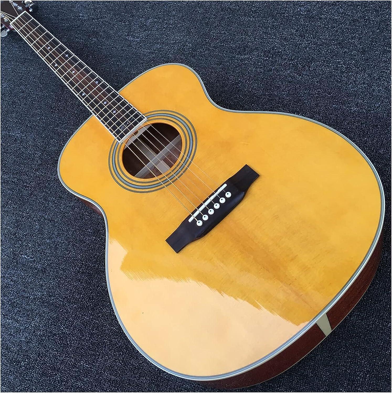 Guitarra 28 Guitarra Acústica Mahogany Acústica Guitarra Eléctrica Snow Flake Inlay Parlor Acoustic Guitarra de Madera AMINÍ (Color : Guitar, Size : 40 Inches)