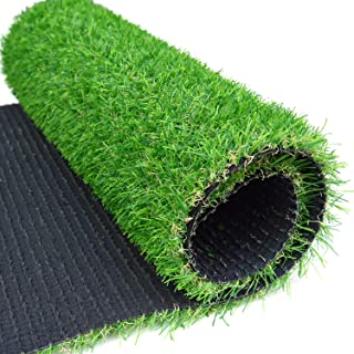 """RoundLove Artificial Grass Turf Patch, 1"""" 4 Tone Synthetic Grass Mat w/Drainage Holes & Rubber Backing, Lush & Hard Pet Turf Astroturf Rug, Fake Turf for Indoor & Outdoor Patio Decor"""