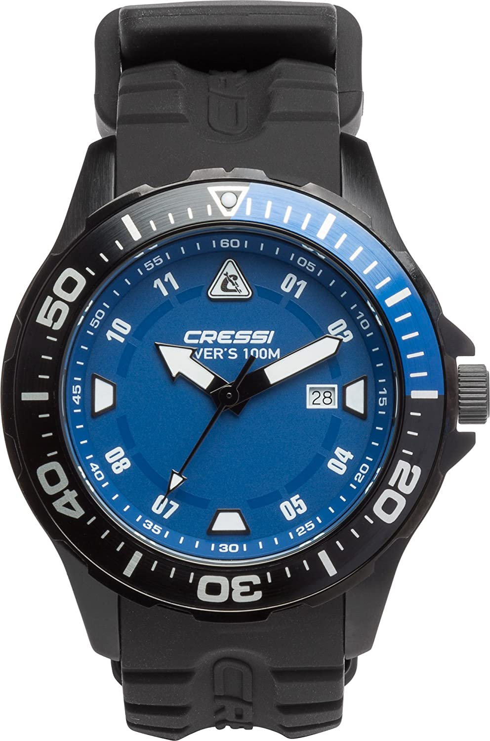 (One Size, Black Black blueee)  Cressi Manta colgoldma Professional Dive Watch with Mineral Glass Waterproof 100 m 10 ATM