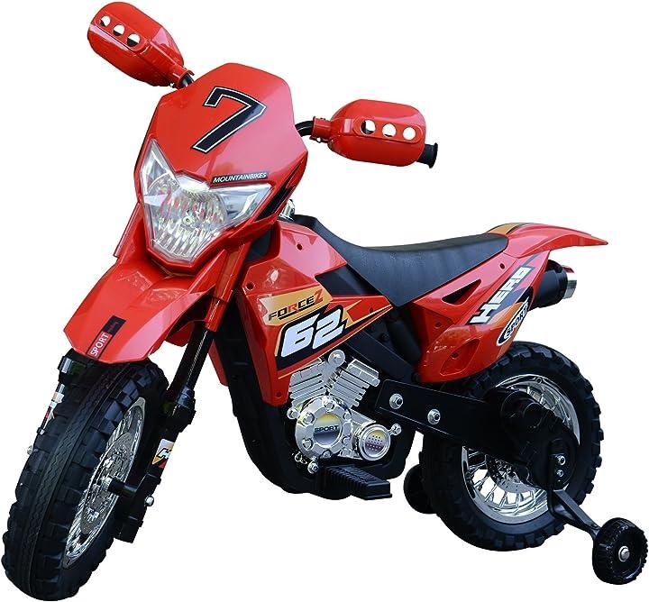 moto da cross elettrica con rotelle bambini 109 × 52.5 × 70.5cm rosso homcom moto bambini ?it370-044rd0631