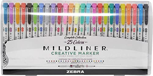 Zebra Pen Mildliner Double Ended Highlighter Set, Broad and Fine Point Tips, Assorted Ink Colors, 25 Pack (78525)