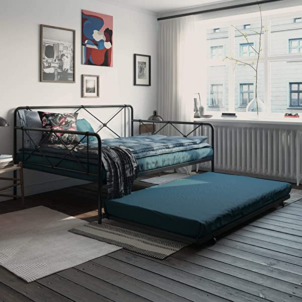 REALROOMS Ally Metal Farmhouse Daybed With Trundle Full Black
