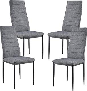 [en.casa] Set de 4X sillas de Comedor Elegantes tapizadas de Tela 96 x 43 x 52 cm 4X Sillas de diseño Asiento de Cocina Gris