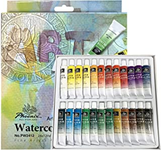 PHOENIX Watercolor Paint Set of 24 Colors x 12 ml - Non-Toxic Paints in Tubes for Kids, Students, Beginners & Artists