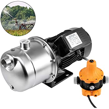 3//4 HP Shallow Well Jet Pump Heavy Duty Jet Pump w//Pressure Switch Cast Iron Jet Pump 110V 550W for Supply Fresh ell Water to Residential Homes Farms Cabins