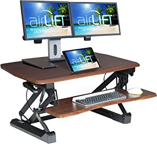 "Seville Classics airLIFT Height Adjustable Stand Up Desk, Full (36""), Walnut"