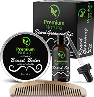 brush And Comb Kit For Men-beard Care Gift Set With Organic Ingredients Mustache Moisturizing Wax Set 5 Pcs Beard Oil balm