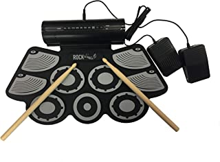 Rock And Roll It - Studio Drum. Flexible, Completely Portable, rechargeable battery (inclluded) OR USB powered drum Attached speaker + 2 Drum Sticks + Bass Drum & Hi hat pedals included!