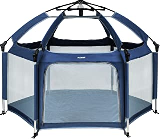 Hoybell Baby Playpen, Portable Playard Indoor and Outdoor, Safety Lock, Washable 6-Panel Kids Playpen with Carry Case, Canopy