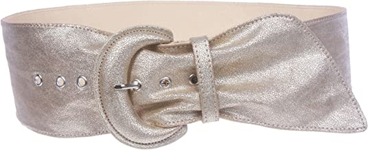 Women's Wide High Waist Metallic Crack Print Tapered Sash Belt