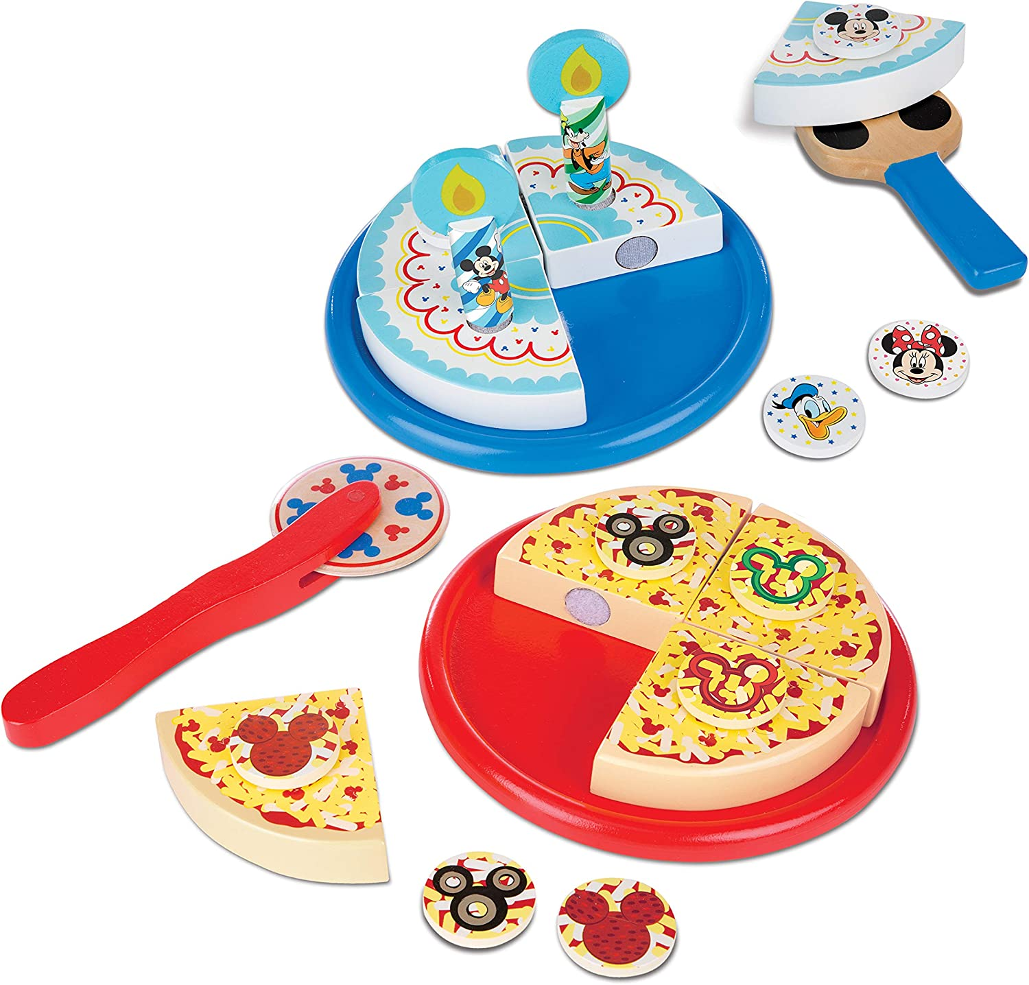 Melissa & Doug Disney Mickey Mouse Wooden Pizza and Birthday Cake Set (E-Commerce Packaging)